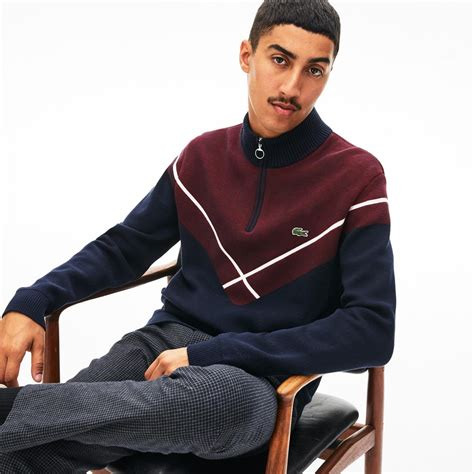 Pullovers Lacoste Homme   Pull à col montant zippé Made in