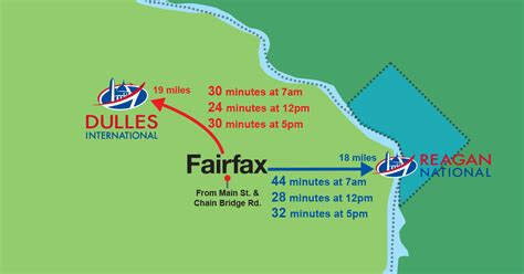 Drive Time from Fairfax, VA to Dulles International