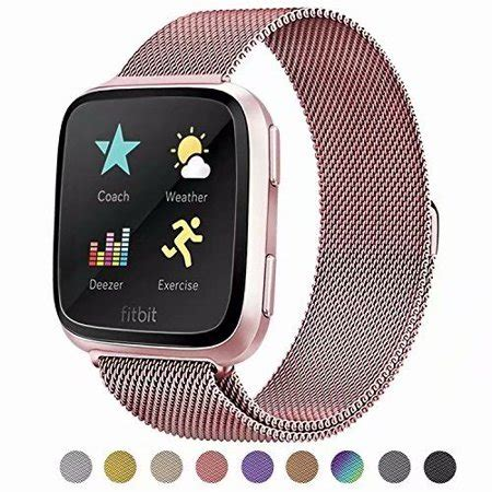 POY - POY For Fitbit Versa Bands, Stainless Steel Milanese