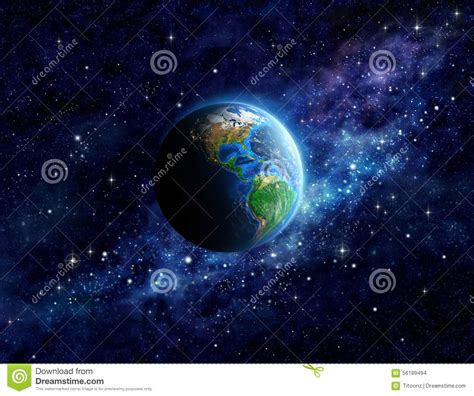 Planet Earth In Outer Space Stock Photo - Image: 56189494