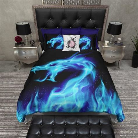 Blue Flame Dragon Bedding – Ink and Rags