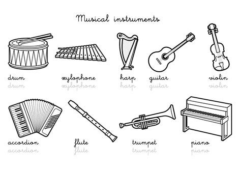 Coloriage-imagier en anglais : Musical instruments vocabulary