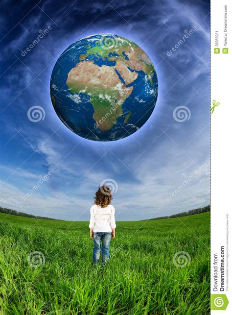 Child Looking At The Earth Planet Stock Image - Image of