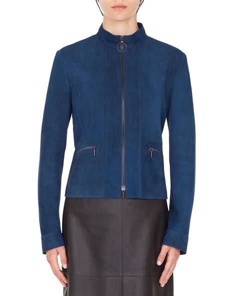 Akris punto Zip-Front Stand-Collar Suede Jacket and